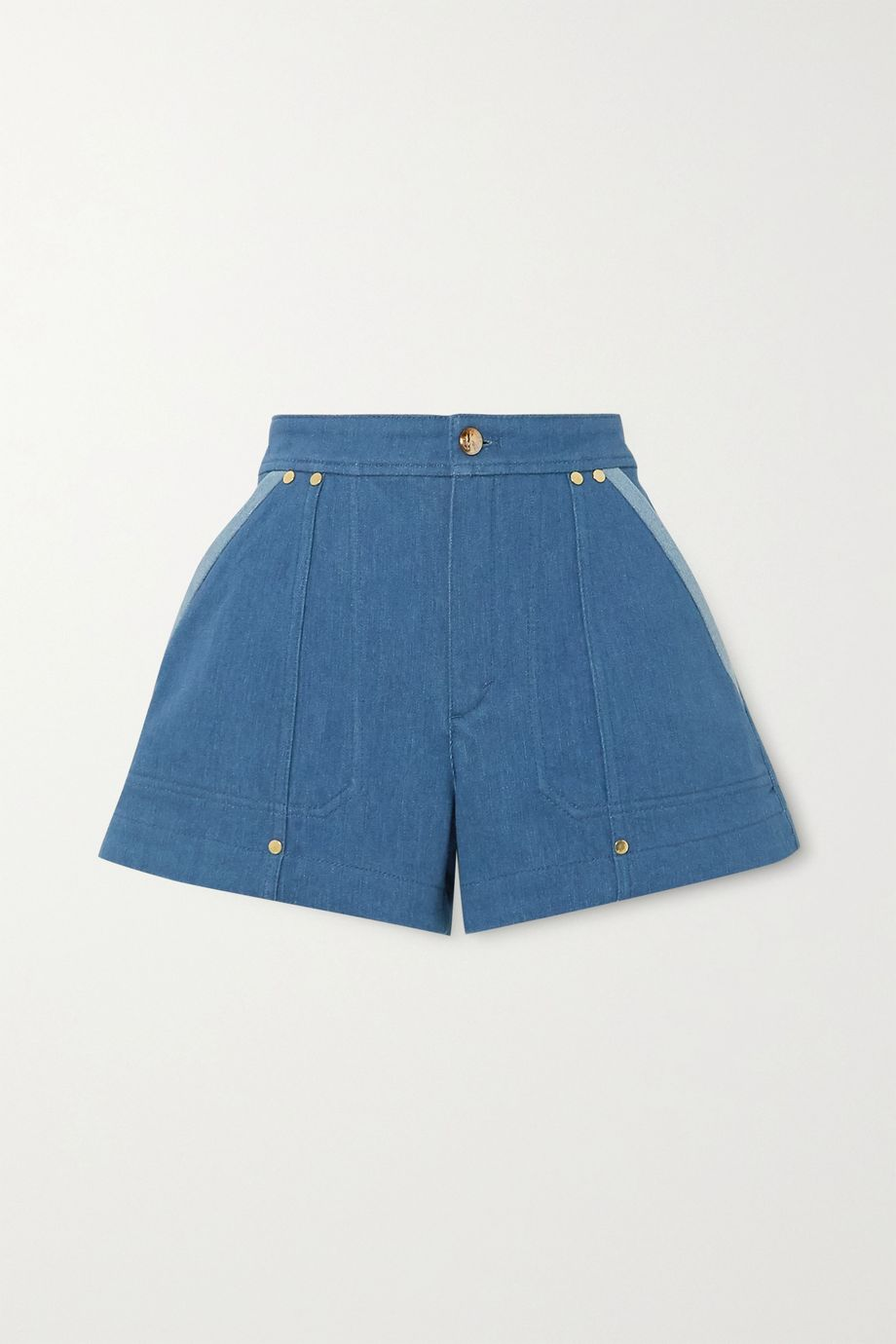 Chloé Embellished two-tone denim shorts