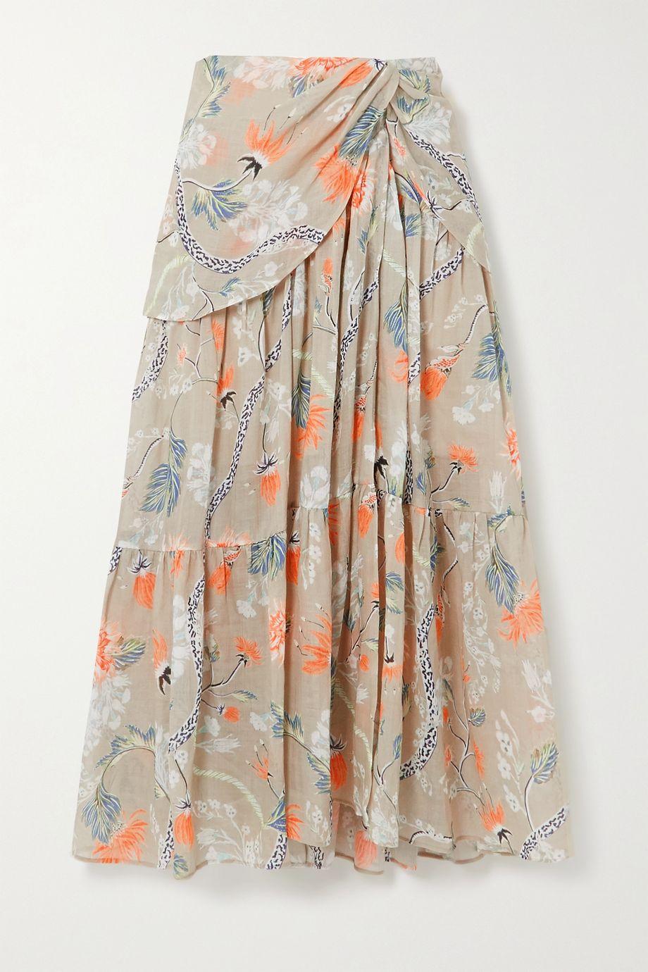 Chloé 褶饰花卉印花苎麻中长半身裙