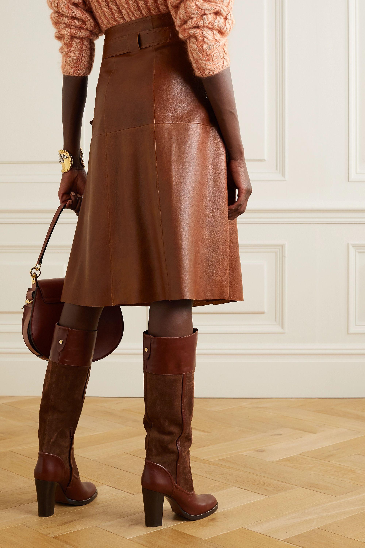 Chloé Leather wrap midi skirt