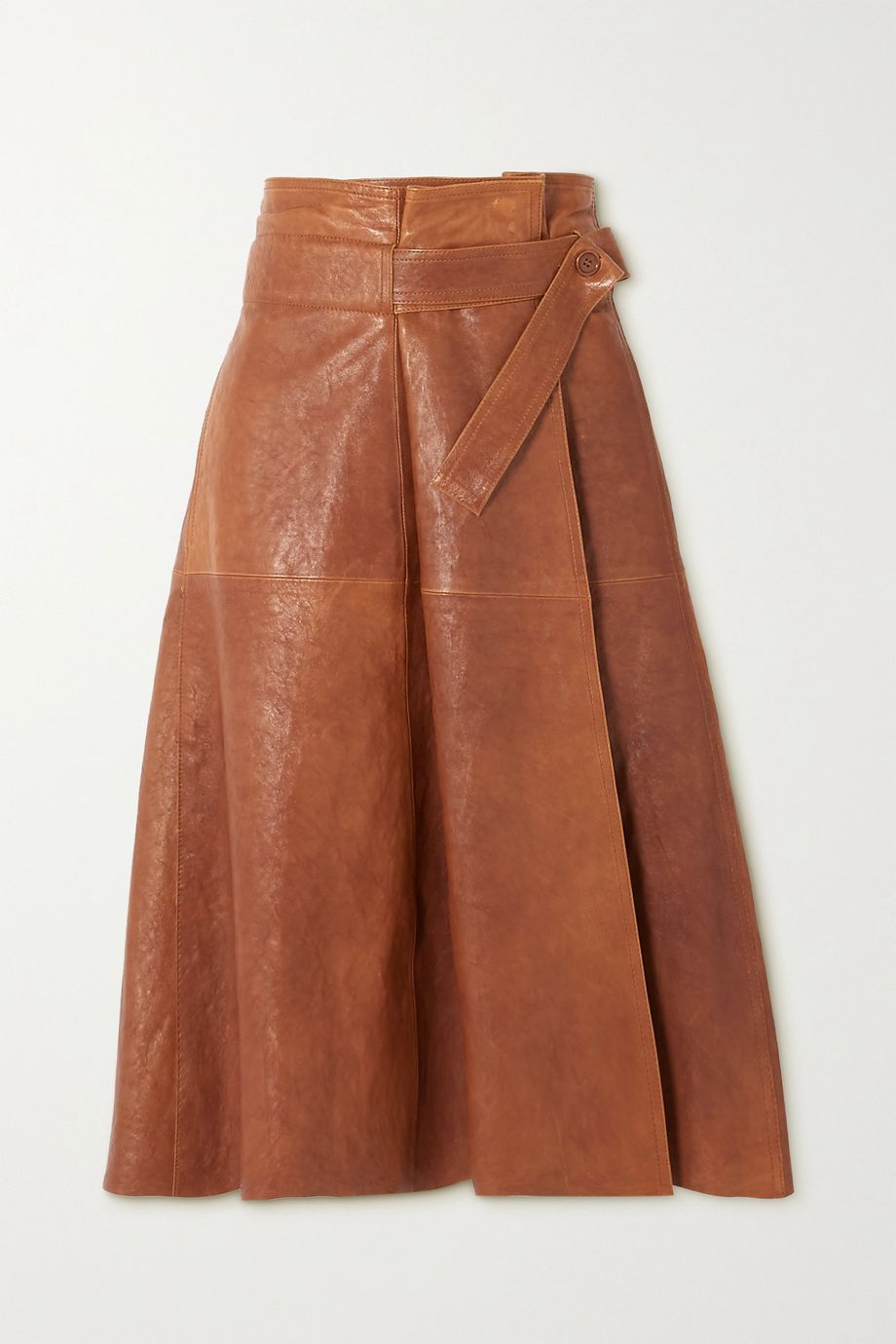 Chloé Leather wrap midi skirt