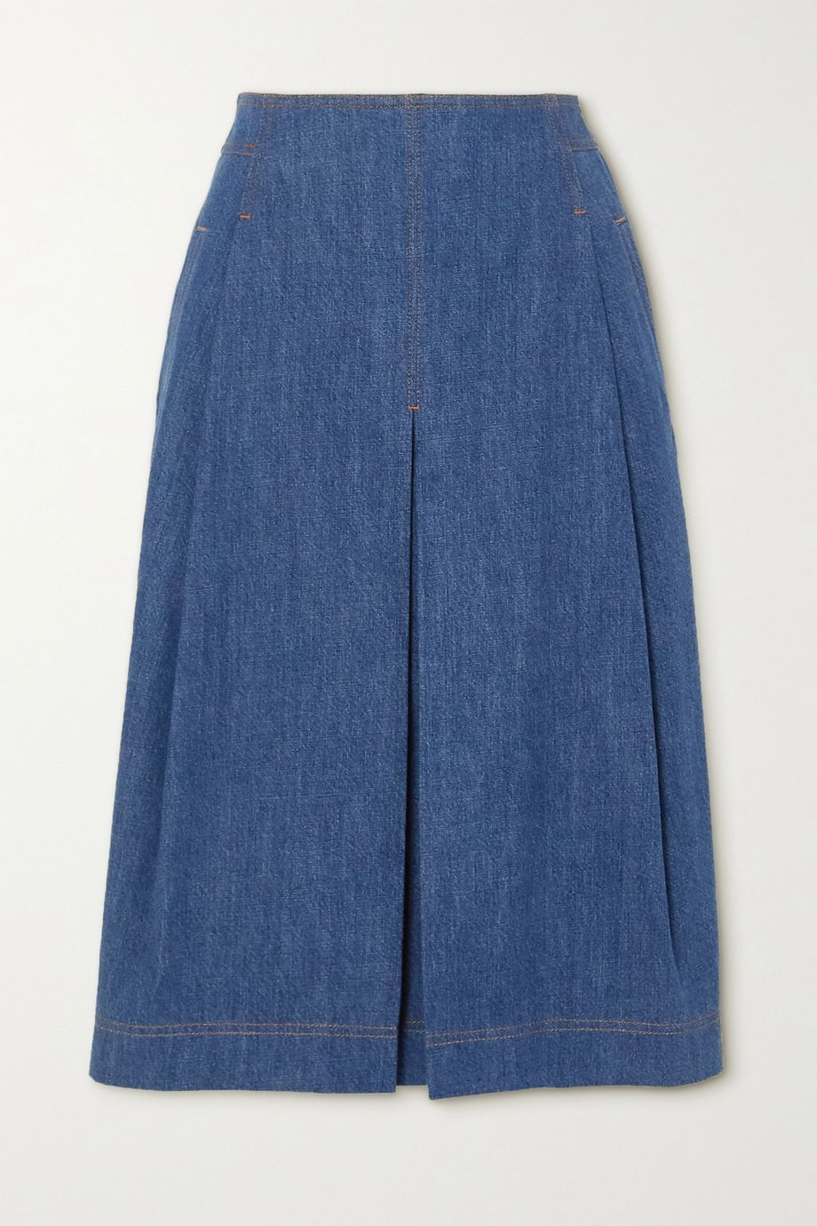 Chloé Pleated organic denim midi skirt