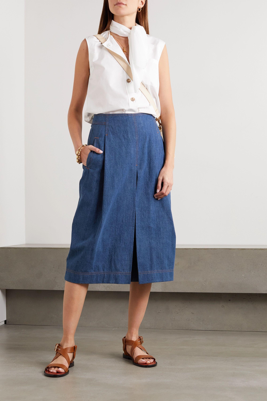 Chloé Pleated organic denim midi skirt