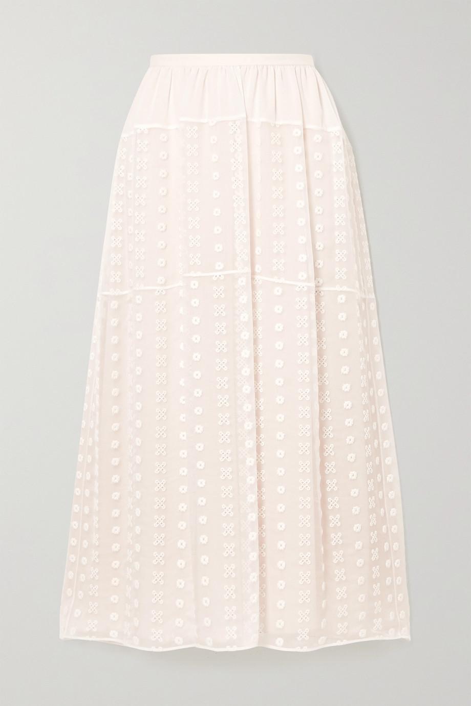 Chloé Broderie anglaise silk-crepon midi skirt