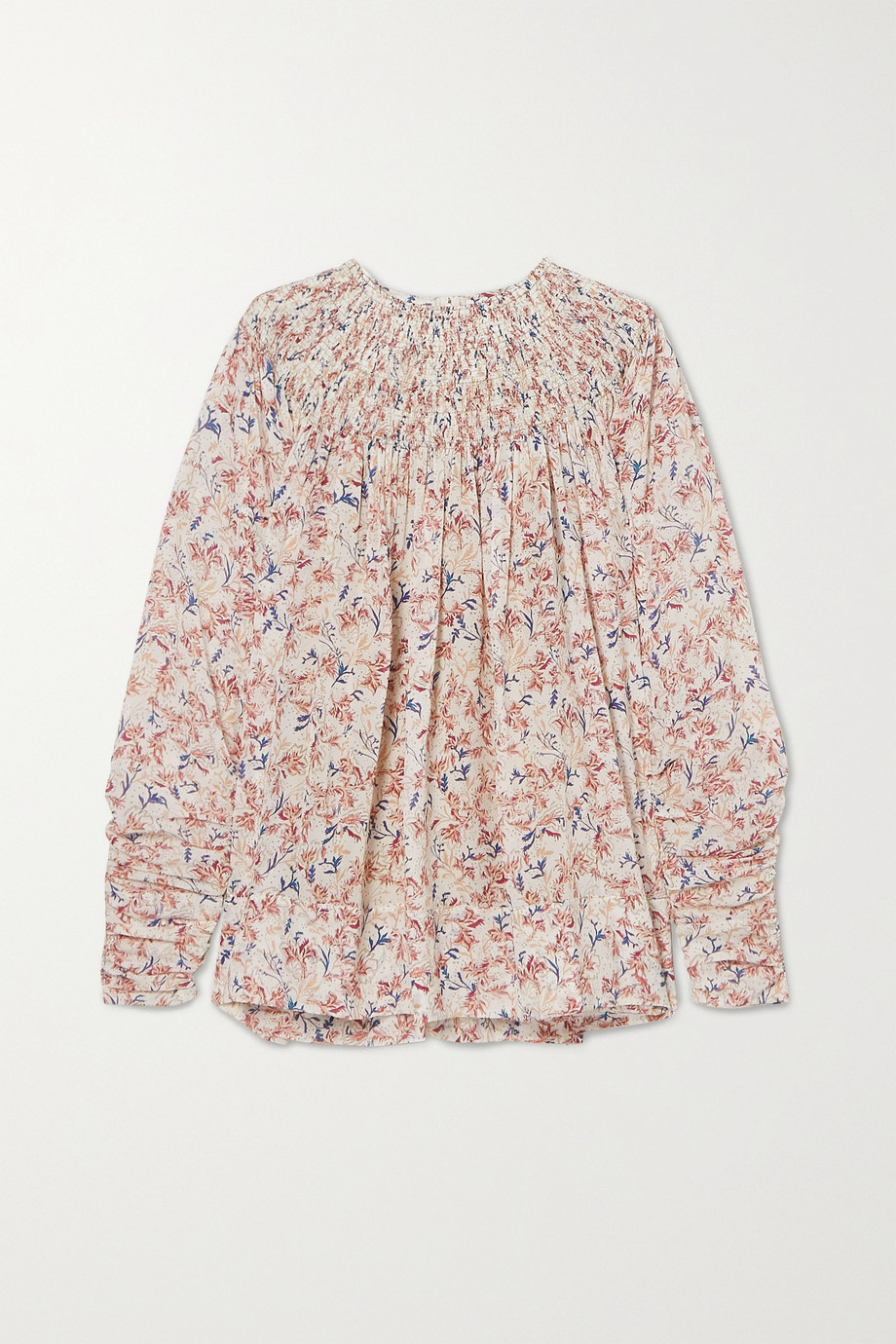 Chloé Ruched shirred floral-print silk blouse