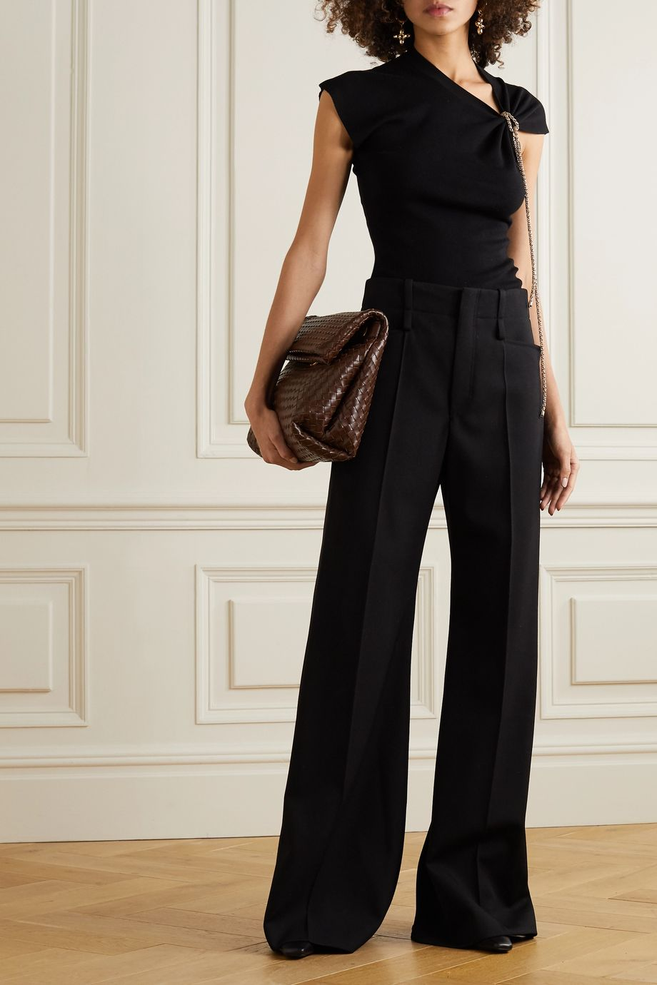 Chloé Asymmetric chain-embellished wool top