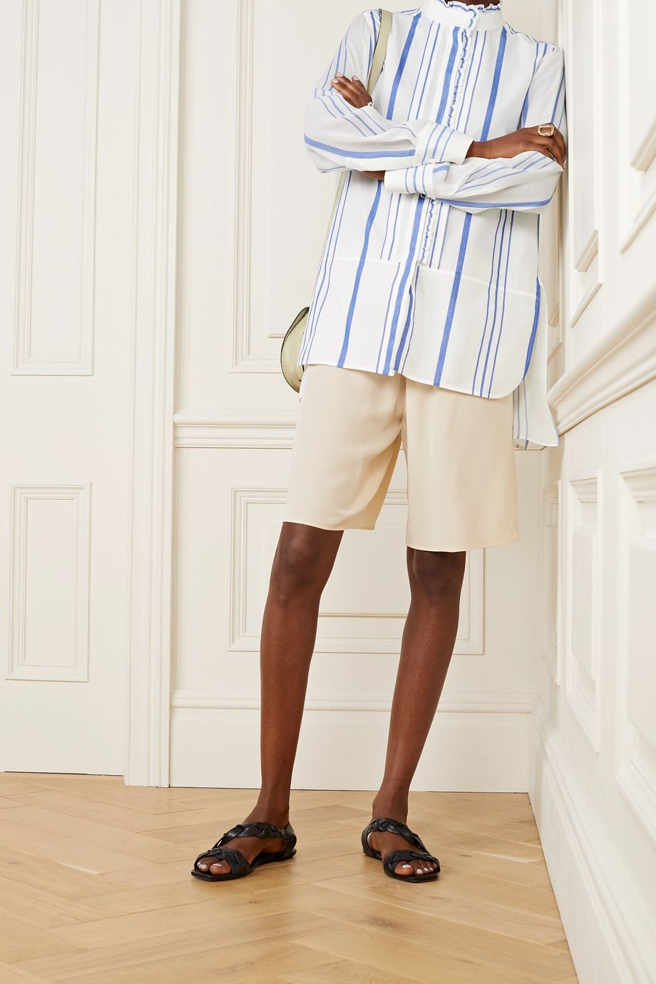 Chloé Ruffled striped cotton and crepe de chine shirt