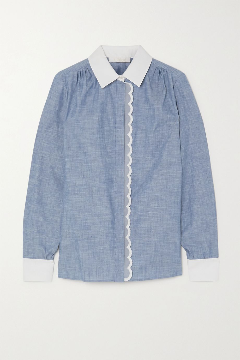Chloé Scalloped cotton-chambray shirt