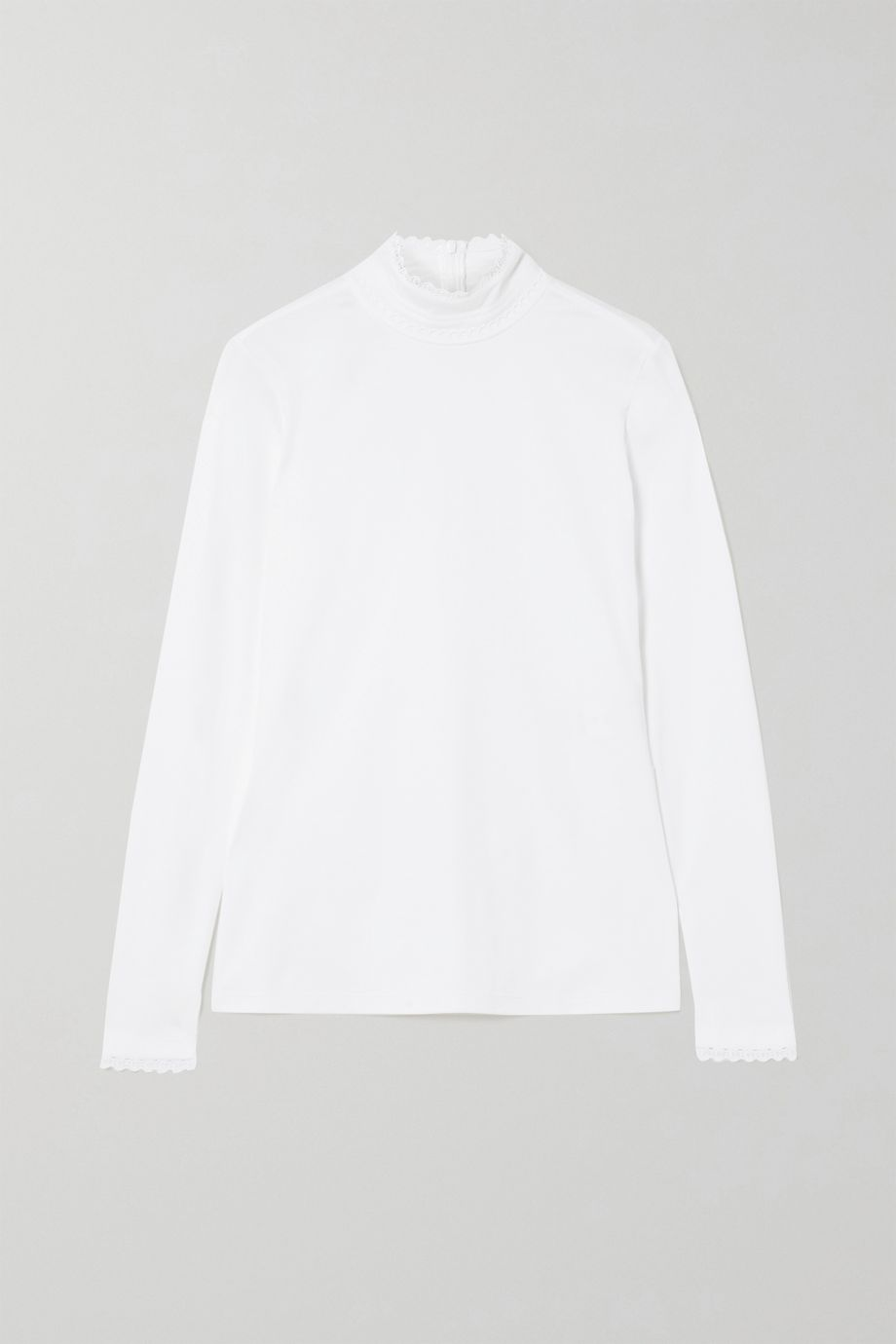 Chloé Lace-trimmed cotton-jersey turtleneck top