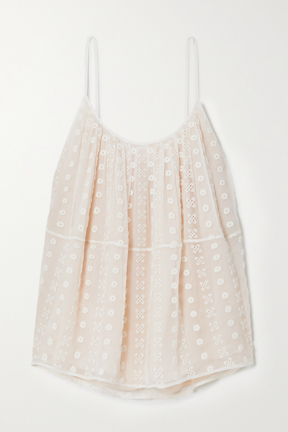 Chloé Broderie anglaise silk-crepon camisole