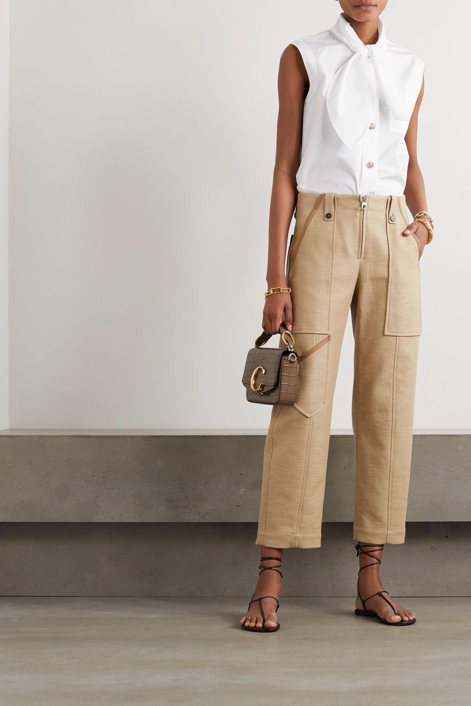 Chloé Tie-detailed cotton-poplin blouse