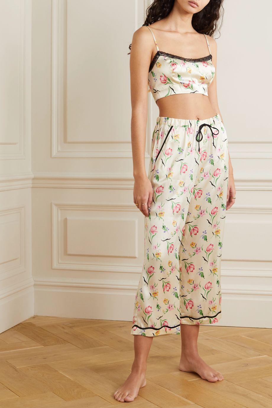 Morgan Lane Noelle Petal Pyjama aus Satin aus einer Seidenmischung mit Blumenprint