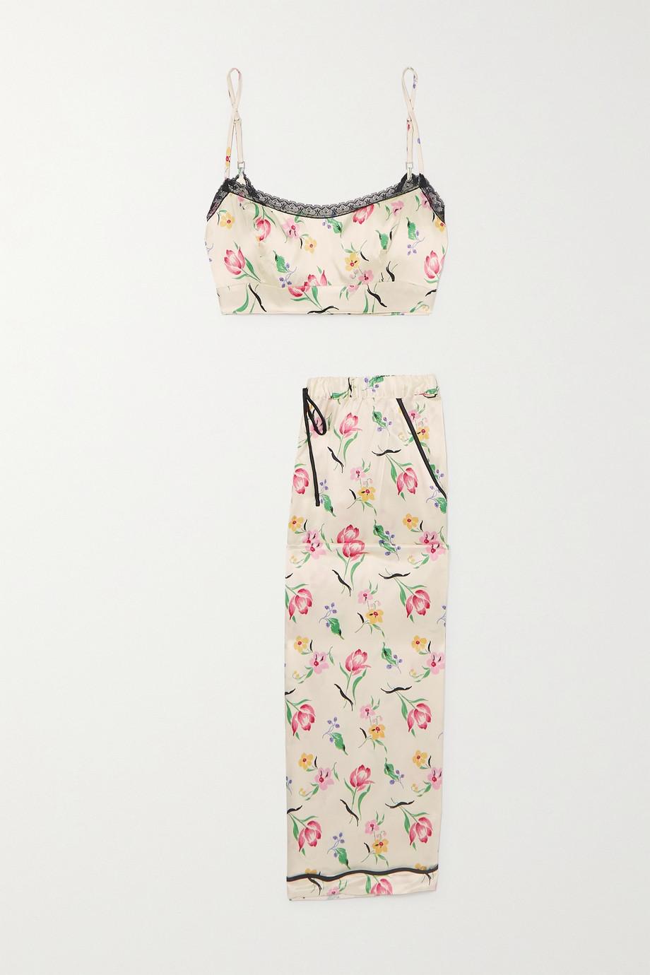 Morgan Lane Noelle Petal floral-print silk-blend satin pajama set