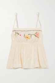 Morgan Lane Darcie embroidered silk-blend jacquard camisole