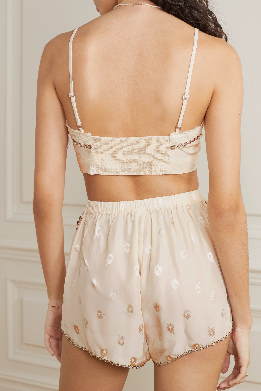 Morgan Lane Mia embroidered silk-blend jacquard bralette