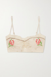 Morgan Lane Mia embroidered silk-blend jacquard bralette