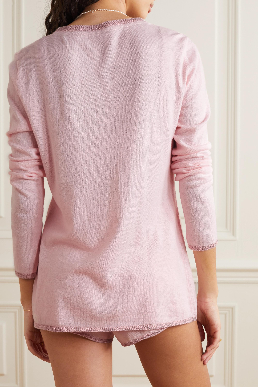 Morgan Lane Pippa Lurex-trimmed knitted cardigan