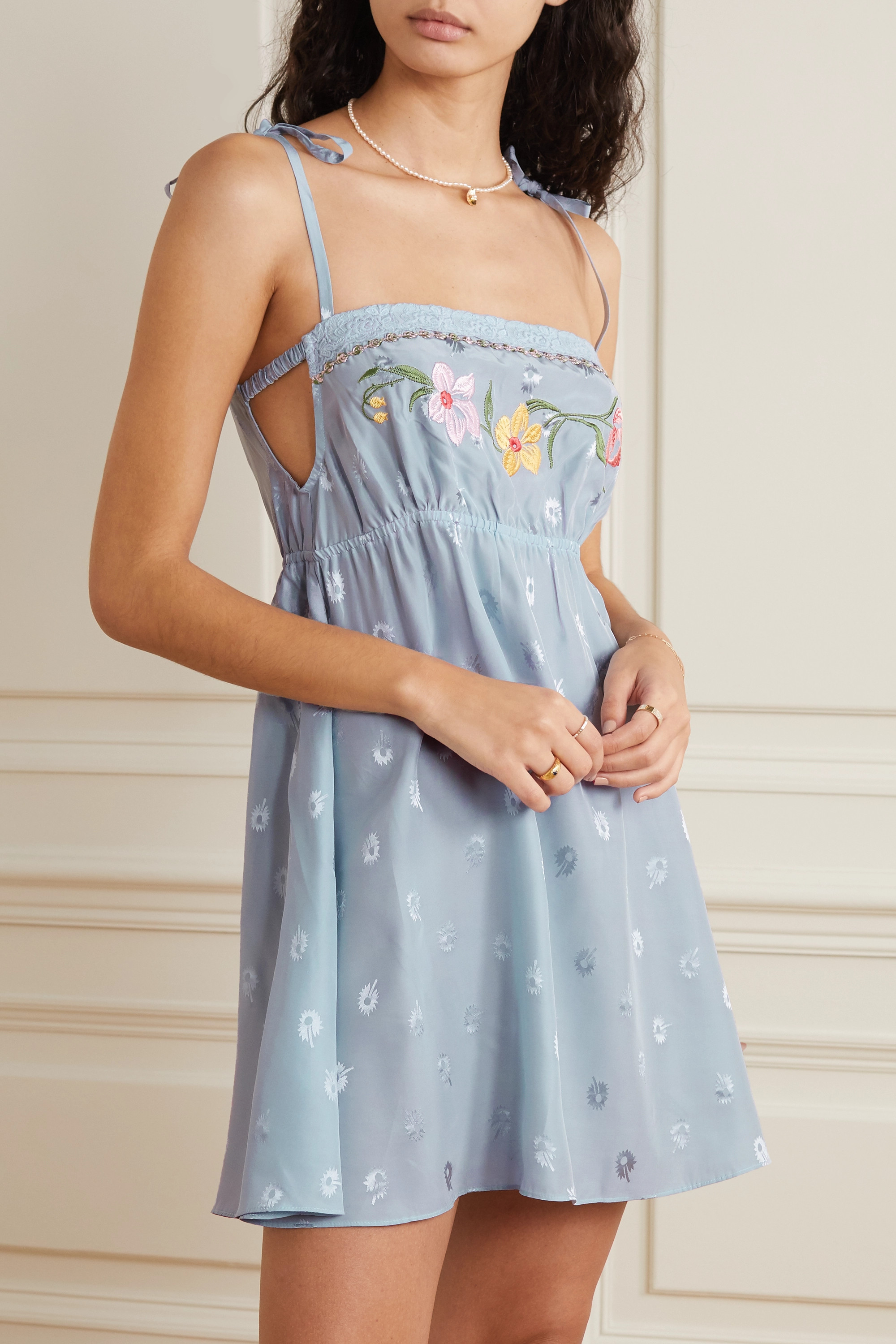 Morgan Lane Hanna lace-trimmed embroidered silk-blend jacquard chemise