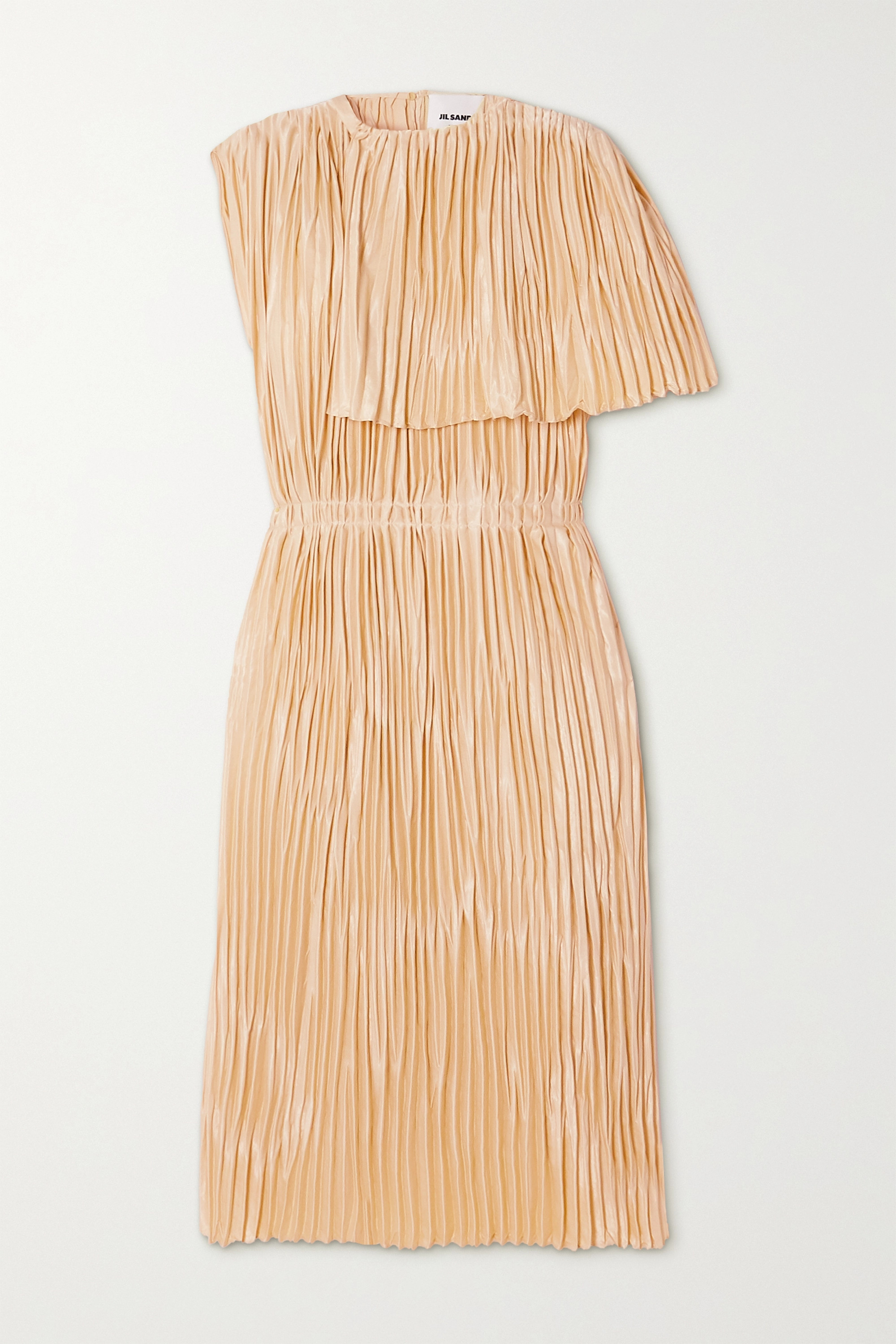 Jil Sander Cape-effect pleated satin midi dress