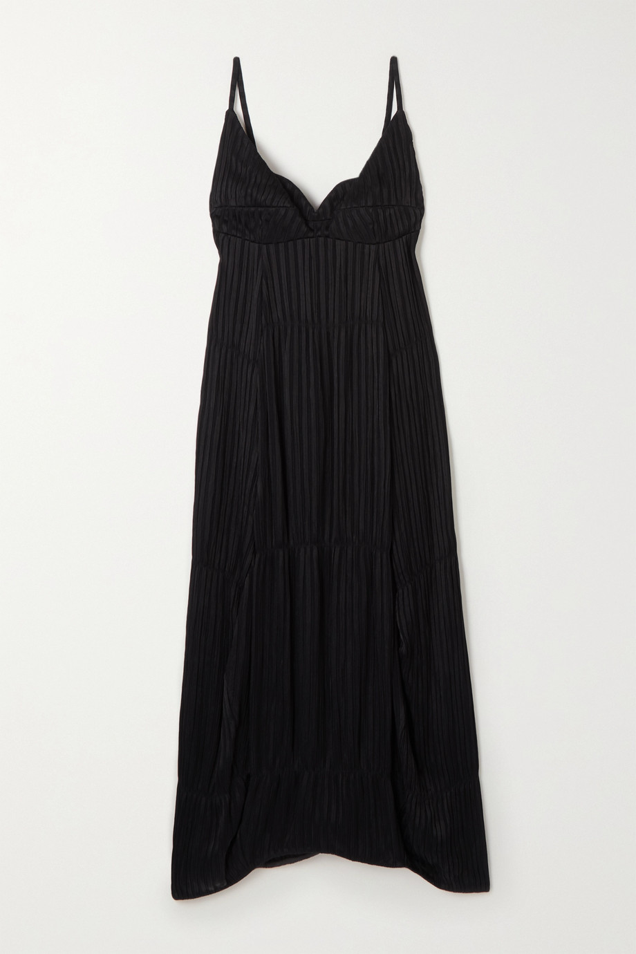 질 샌더 Jil Sander Novella tiered plisse-crepe midi dress,Black