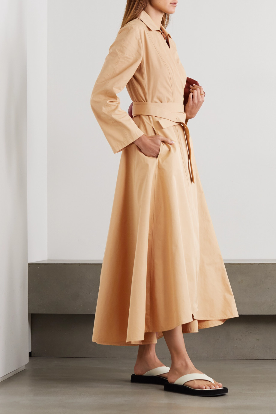 Jil Sander Belted cotton-poplin wrap dress