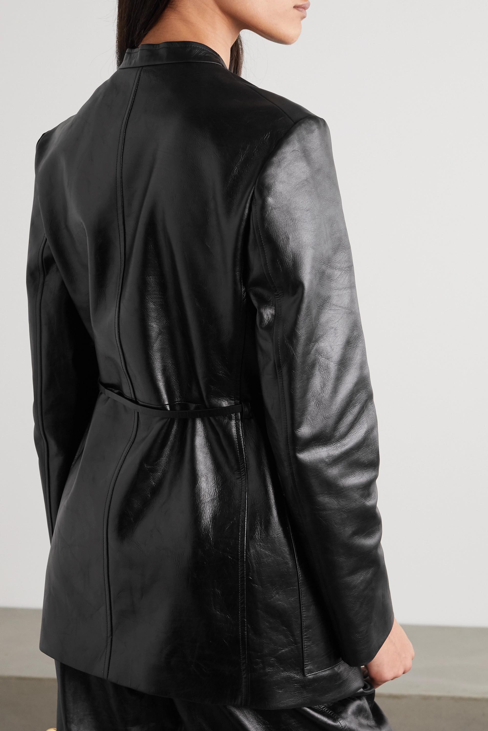 Jil Sander Blazer en cuir à ceinture Nessa
