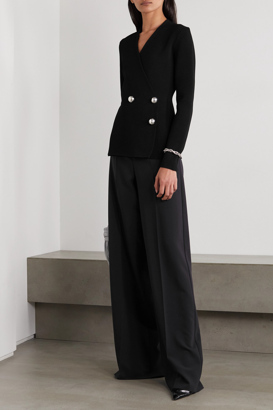 Jil Sander Double-breasted stretch-knit cardigan