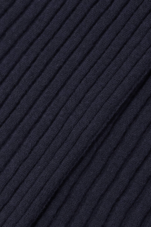 Jil Sander Pull à col montant en laine et cachemire mélangés côtelés