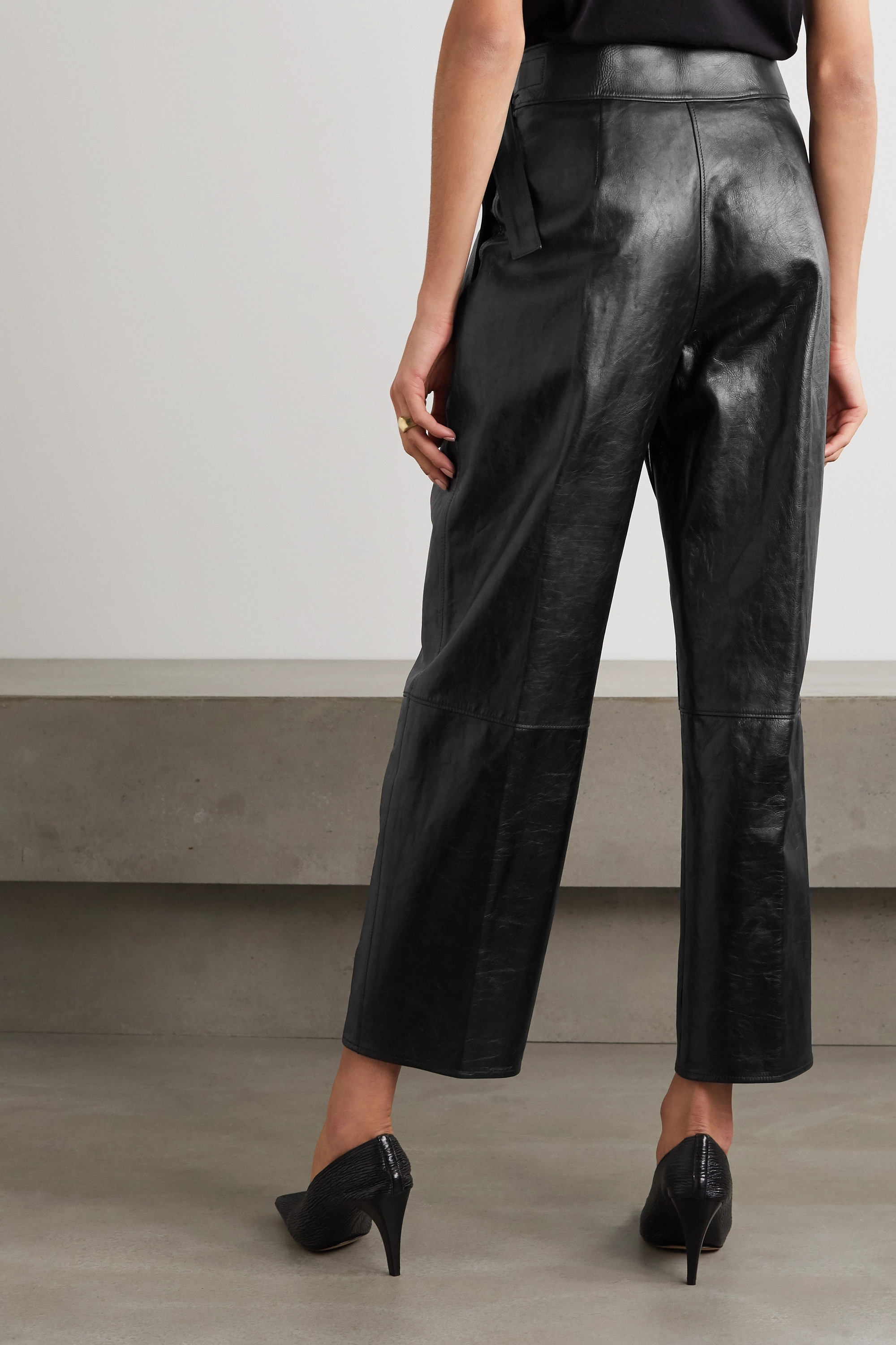 Jil Sander Napolean belted pleated leather tapered pants
