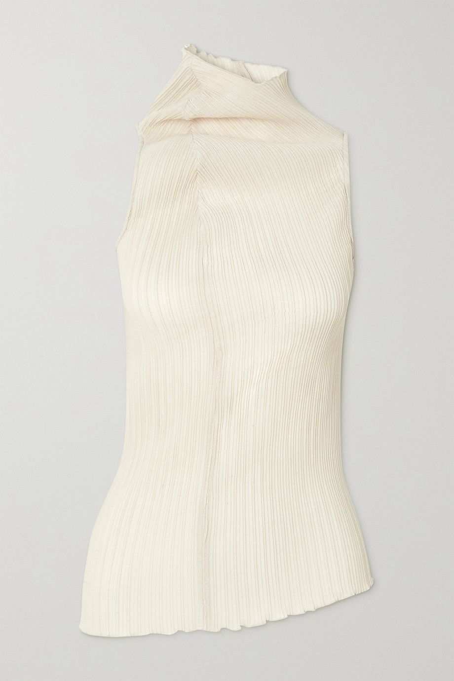Jil Sander Gathered ribbed stretch-jersey top