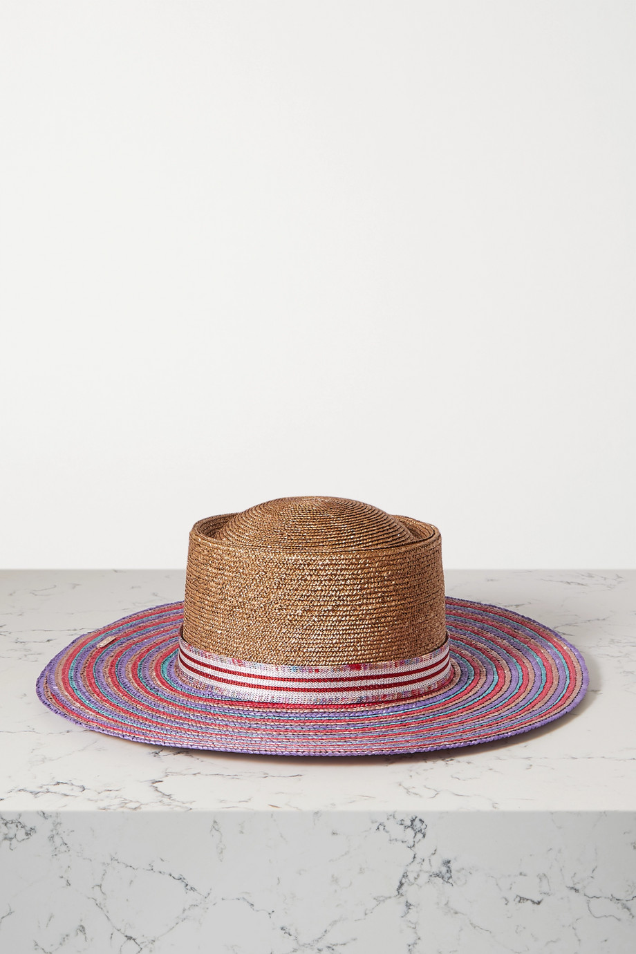 Missoni Sonnenhut aus Stroh mit Streifen und Ripsband