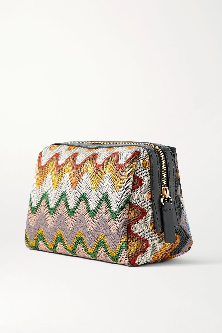 Missoni Leather-trimmed crochet-knit cosmetics case