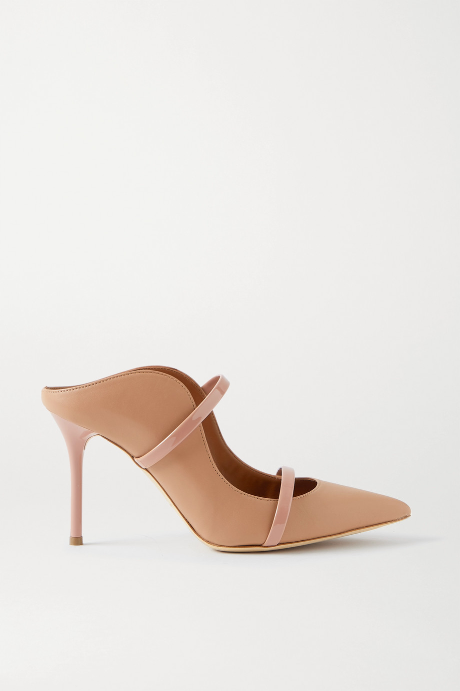 Malone Souliers Maureen 85 patent-trimmed leather mules