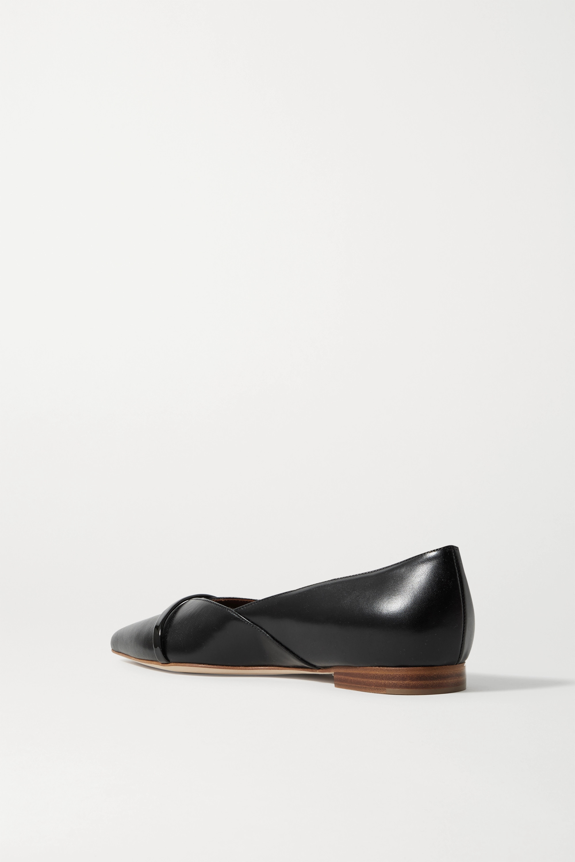 Black Colette Patent-trimmed Leather Point-toe Flats | Malone Souliers