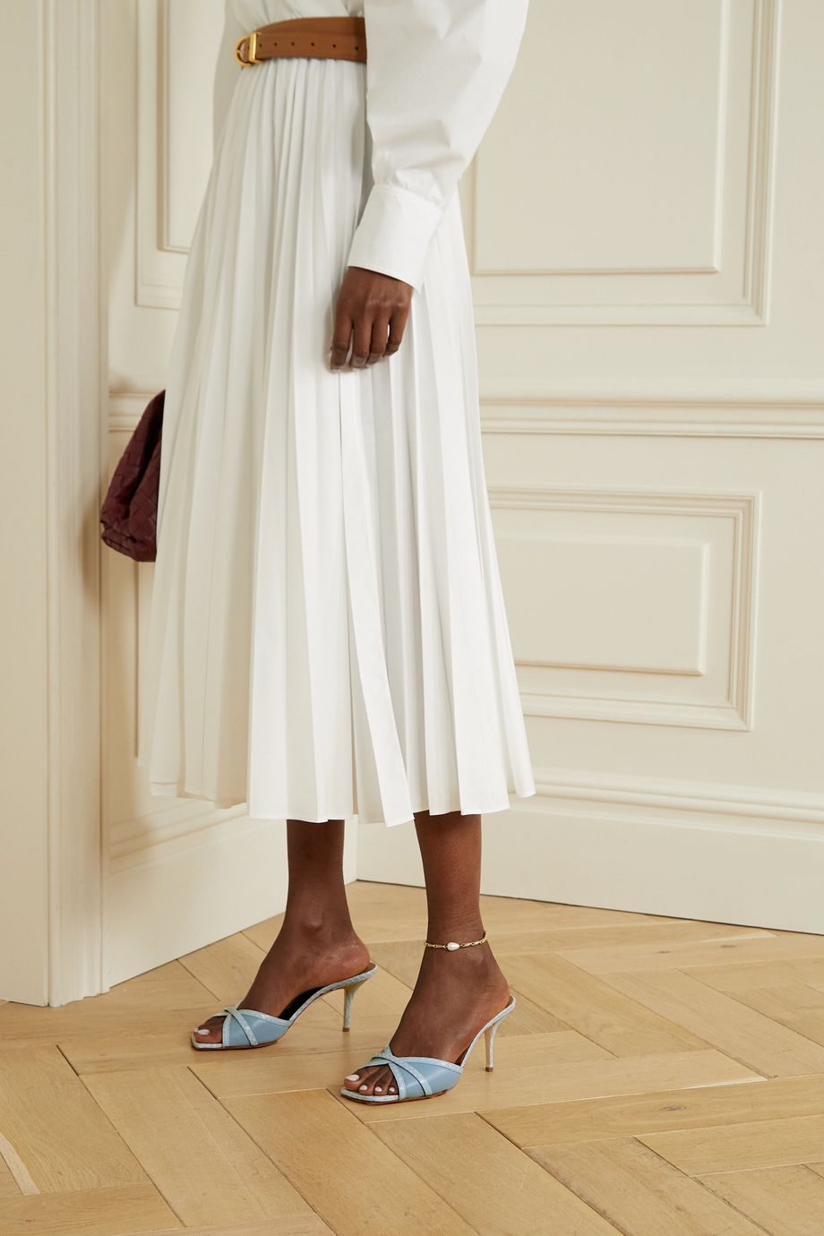 Malone Souliers Perla 70 elaphe and leather mules