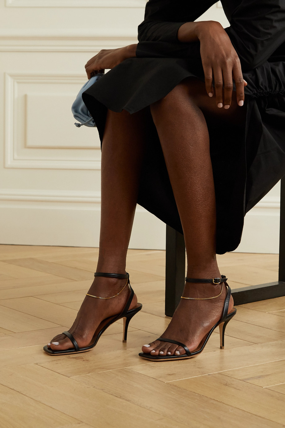 Malone Souliers Vale 70 chain-embellished leather sandals