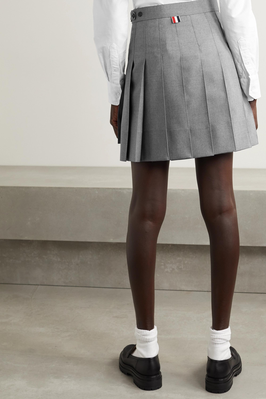 Thom Browne Grosgrain-trimmed pleated wool-blend mini skirt