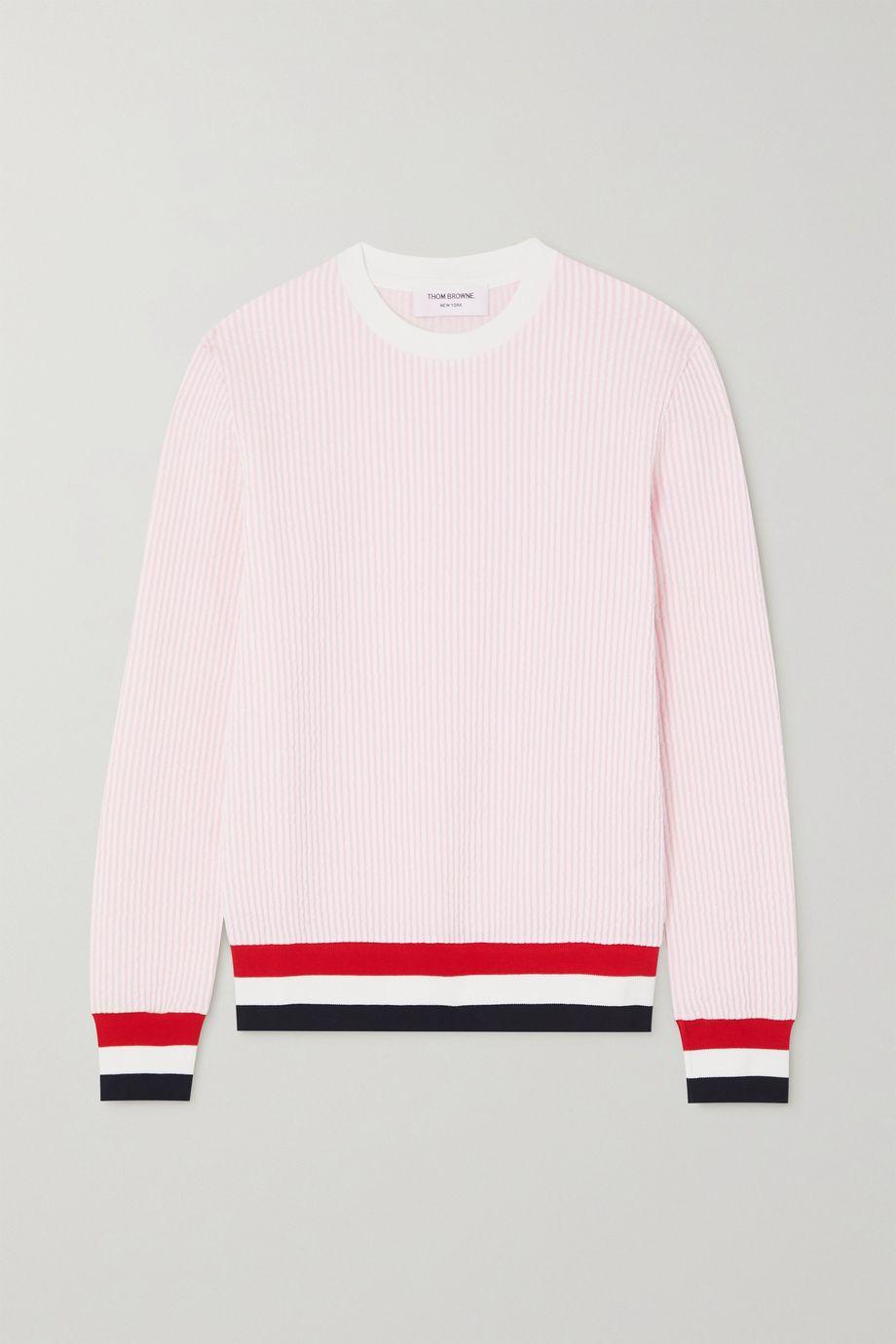 Thom Browne Sweatshirt aus Baumwoll-Seersucker mit Streifen