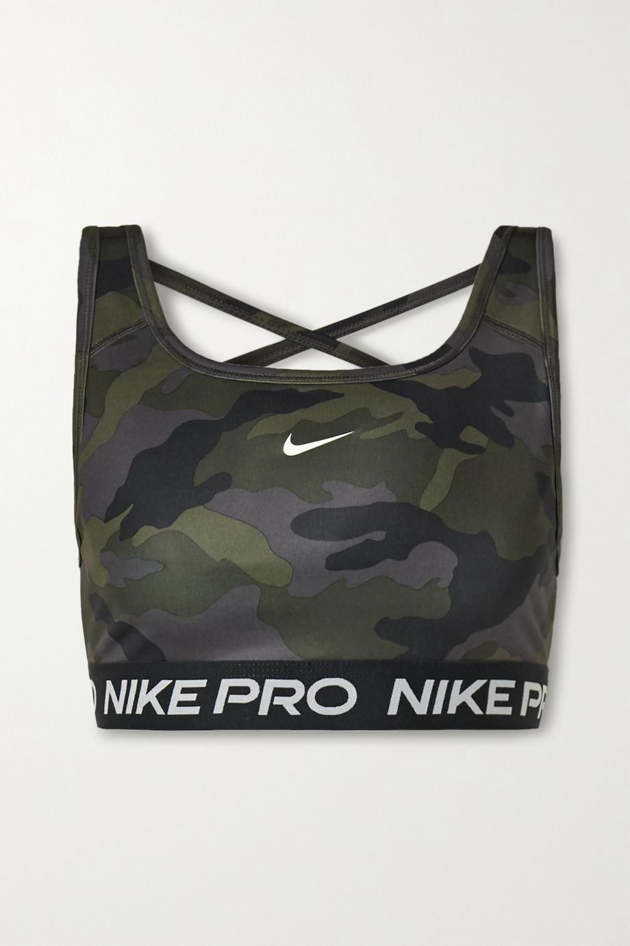 Nike Swoosh mesh-paneled camouflage-print Dri-FIT sports bra
