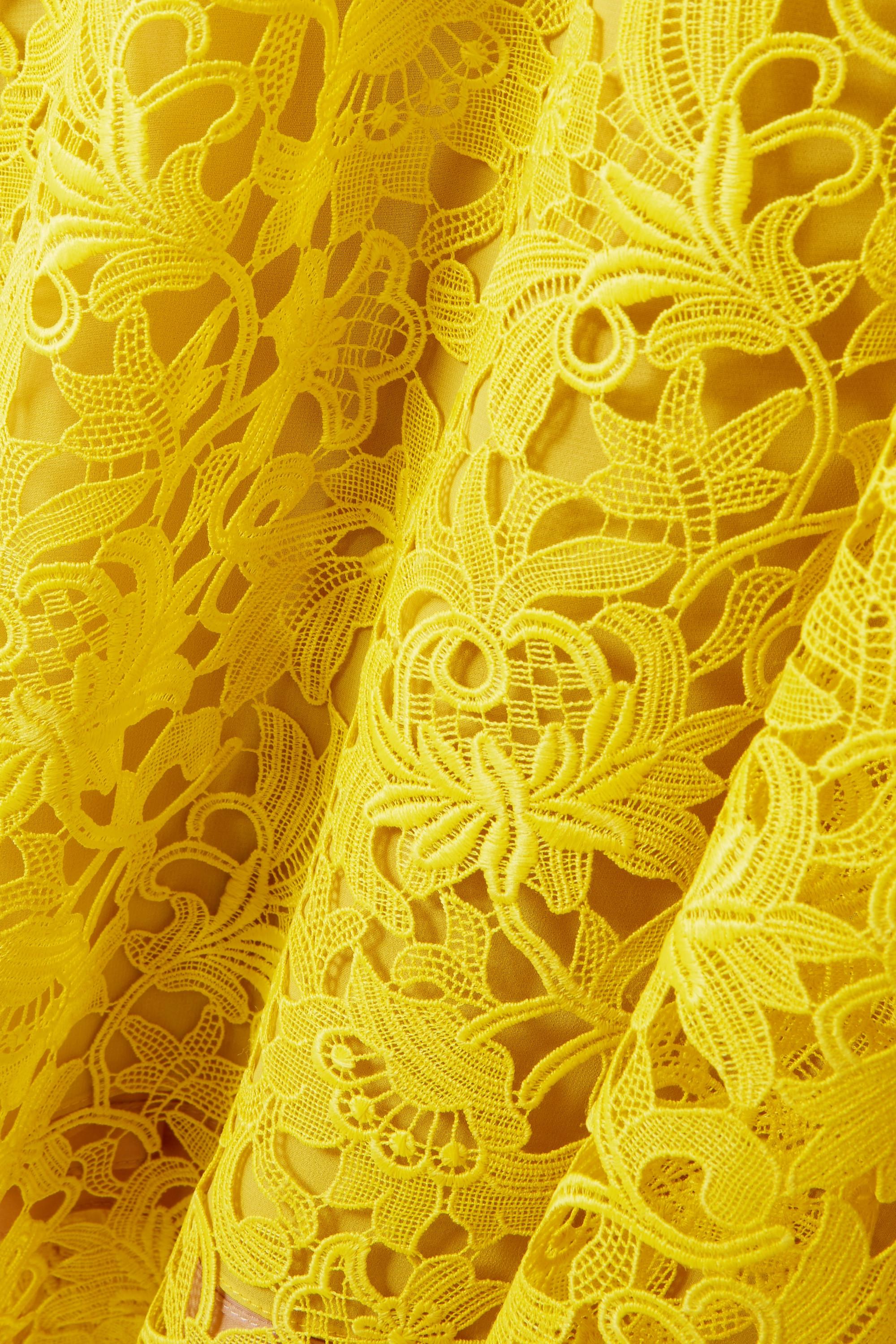 Yellow Wildflower Guipure Lace Midi Dress | Lela Rose