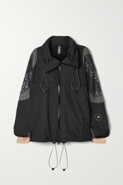 adidas by Stella McCartney Paneled shell and leopard-print ripstop jacket