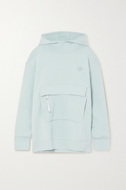 adidas by Stella McCartney Appliquéd cotton-blend jersey hoodie