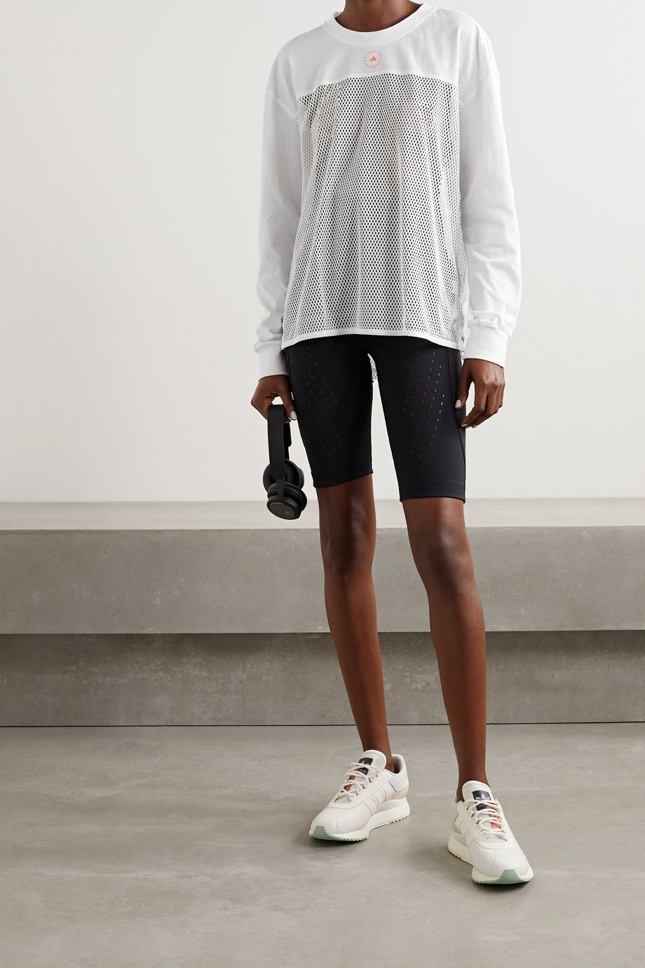 adidas by Stella McCartney Printed organic cotton-jersey and mesh top