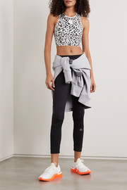 adidas by Stella McCartney TruePurpose cutout perforated leopard-print stretch top