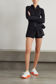 adidas by Stella McCartney TruePurpose layered perforated shell and stretch-jersey shorts