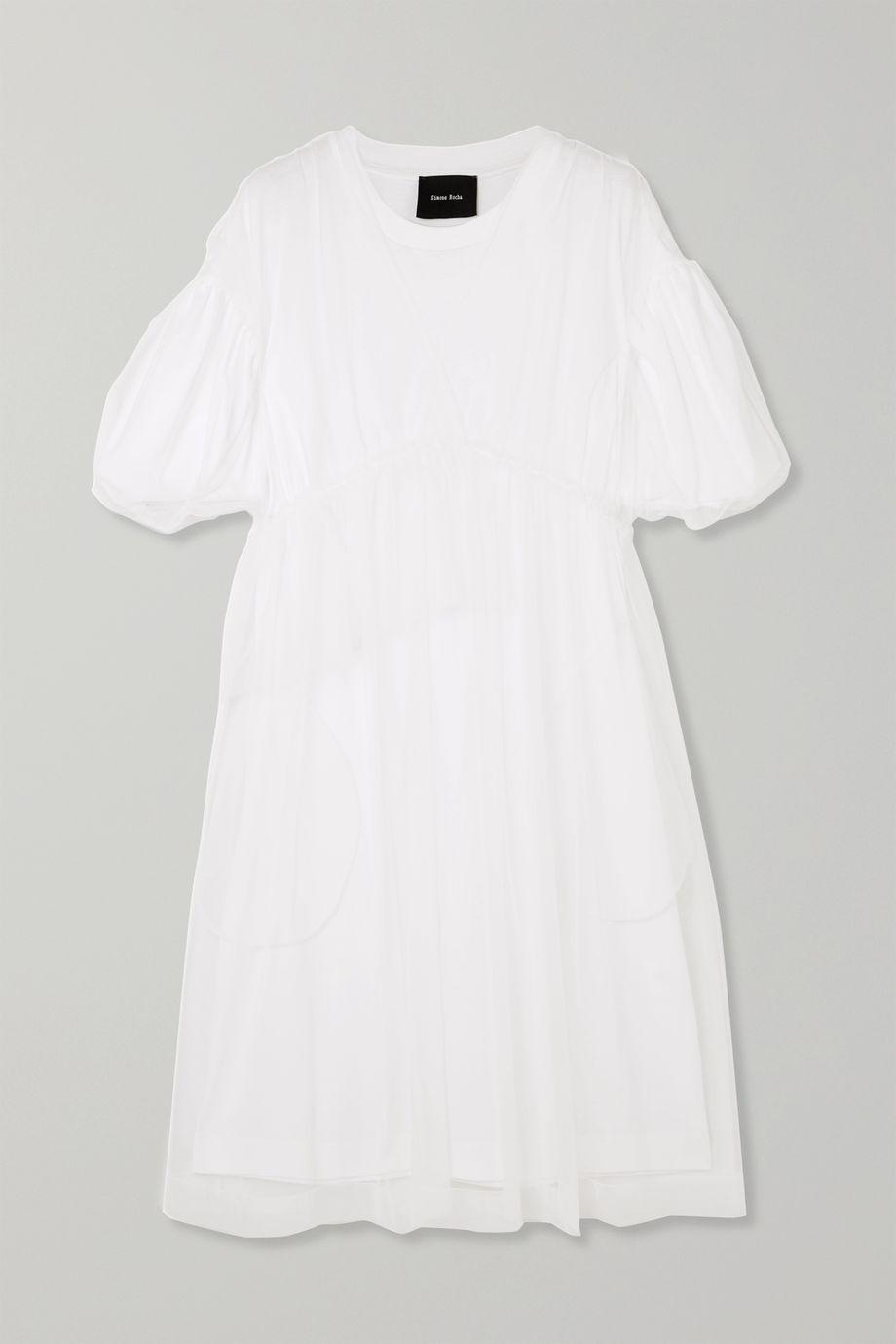 Simone Rocha Gathered tulle and cotton-jersey midi dress