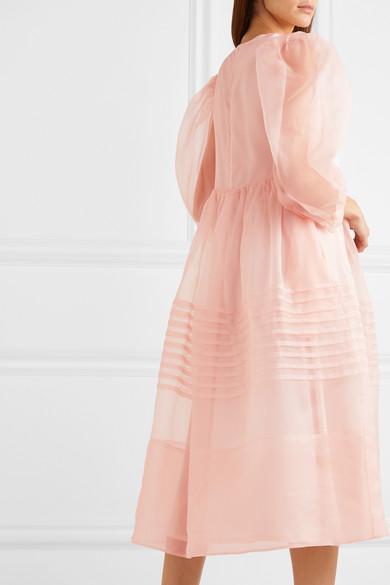 Pleated silk organza midi dress
