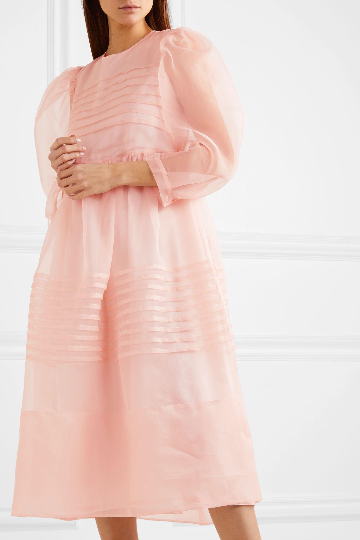 Simone Rocha Pleated silk-organza midi dress