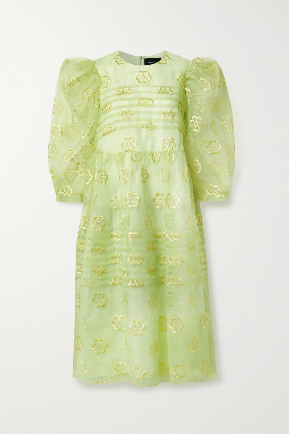 Simone Rocha Pintucked floral-embroidered organza midi dress