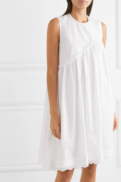 Broderie anglaise cotton-poplin dress