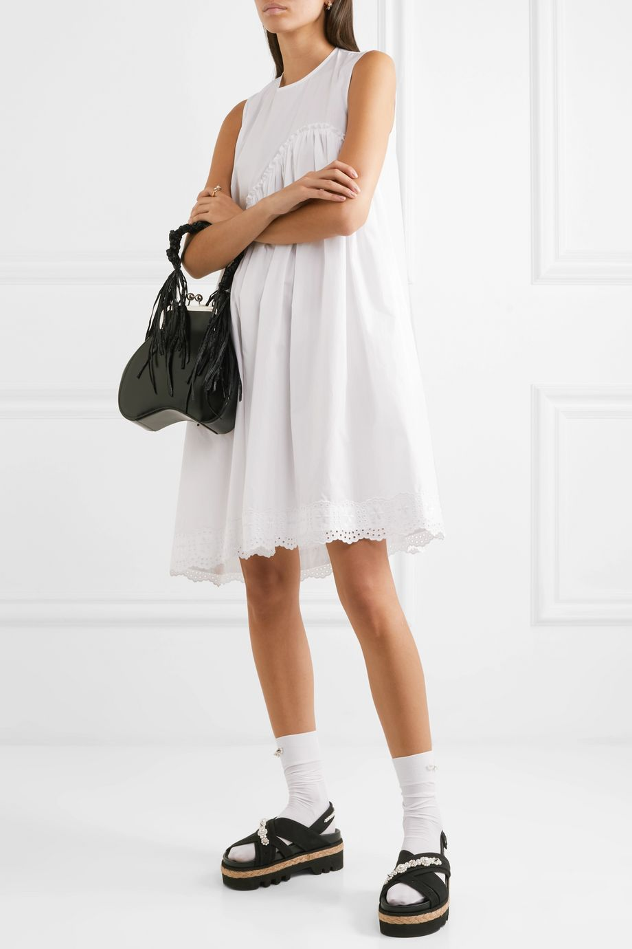 Simone Rocha Broderie anglaise cotton-poplin dress